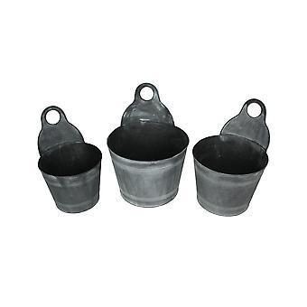 Set of 3 Charcoal Gray Finish Metal Bucket Style Hangable Planters