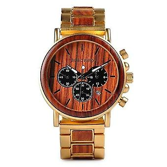 Gold Watch Men Luxury Brand Wooden Wristwatches Male Date Display Stop