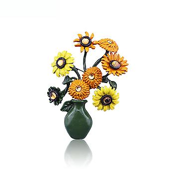 Corsage Sunflower Ladies Brooch Painted Alloy Brooch Pin