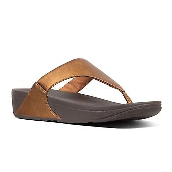 Fit Flop Womens Lulu Metallic Leather Toe Post Sandals