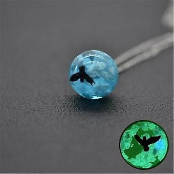 Women Transparent Resin Rould Ball Moon Pendant Necklace