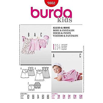 Burda Sömnad Mönster 9802 Baby Infant Dress & Byxor Storlekar 3m - 18m