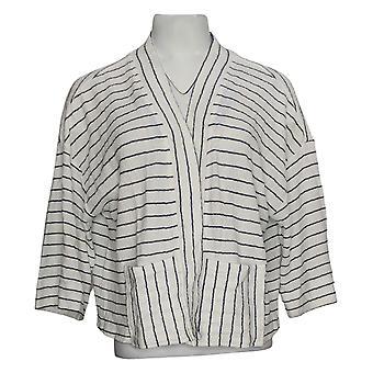 Isaac Mizrahi En direct! Femme's Sweater Striped Knit Kimono White A379743