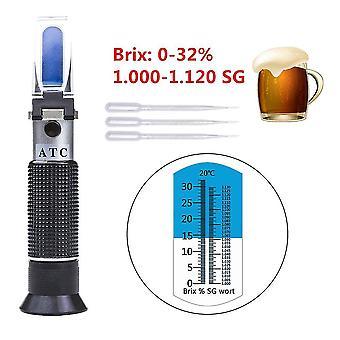 Beer refractometer hand held 0-32% brix brewing wort 1.000-1.120 sg specific gravity tool