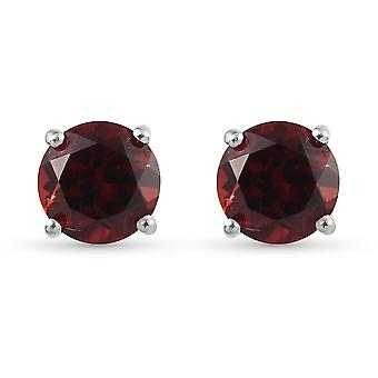 TJC Garnet Stud Earrings Platinum Plated Silver Gift for Her 2.2ct