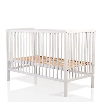 Cangaroo baby cot houten beuken wit, 3 hoogte posities, 3 hengels verwijderbaar