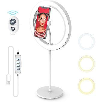 """HanFei 10"""""""" Ringlicht mit Standfu, 3 Beleuchtungsmodi und 10 Helligkeitsstufen, Smartphone Halterung-Halterung-"""