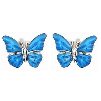 Zennor Butterfly Cufflinks - Sininen/Hopea