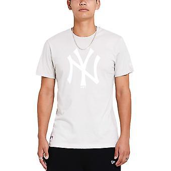 ニューエラ メンズ ニューヨーク ヤンキース シーズンチーム クルー ネック Tシャツ トップティー - ストーン