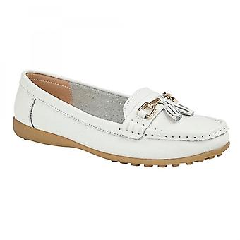 Boulevard Camilla Ladies Leather Tassle Loafers White