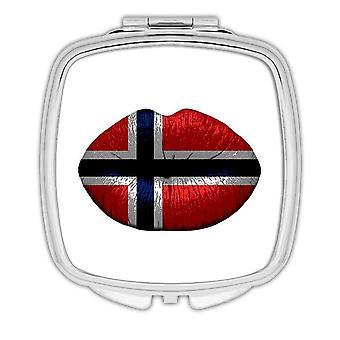 Gift Compact Mirror: Lips Norwegian Flag Norway