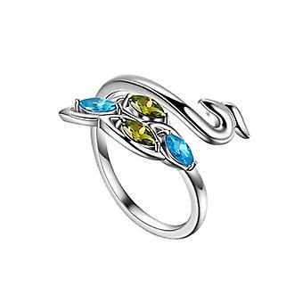 Ring with rose-shaped peacock and animal lizard flower band ring for women girls in sterling silver cute Ref. 8414858872009(2)