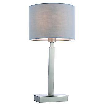 Table Lamp Matt Nickel Plate, Grey Fabric Shade With Usb Socket