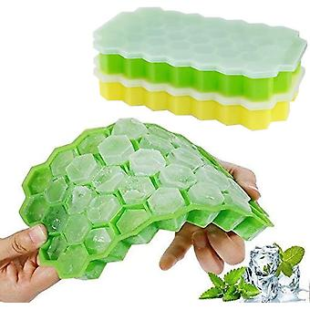 Green yellow 2 pcs silicone ice cube tray 37 compartment ice cube mold with cover cai1463