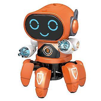 Orange diy electric light music dancing six-jaw intelligent robot az5345