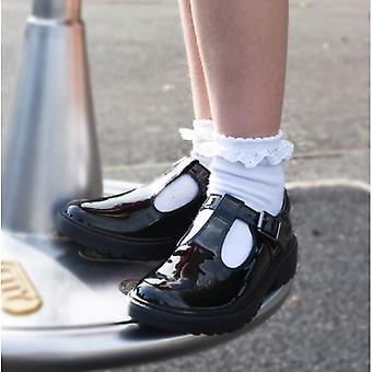 GEOX كيسي الفتيات أحذية المدرسة براءات الاختراع الأسود