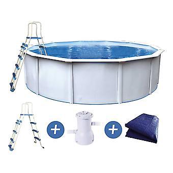 "Runder Swimming-Pool aus Stahl weiß ""Punta cana"" - 4.60 x 1.20 m"