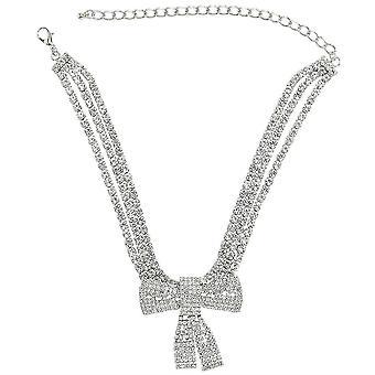 Naisten kaulakoru Bow Alloy Diamond Tekojalokivi Täysi timantti riipus Chocker näyttelyyn