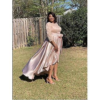 High Low Champagne Lace Mother Of The Bride Dress