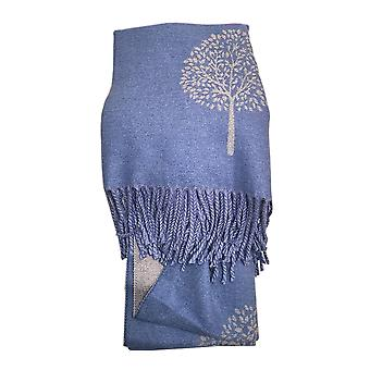 Reversible Tree of Life Blue Ladies Scarf by Butterfly Fashion London