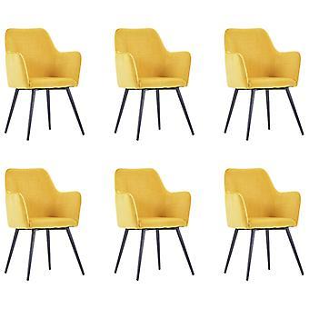 vidaXL chaises à manger 6 pcs de velours jaune