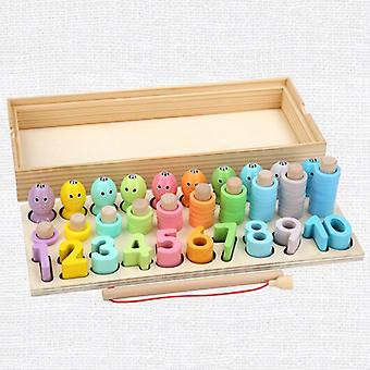 Educational Wooden Toys Geometric Shape Matching Count Toys For Children Math Toys