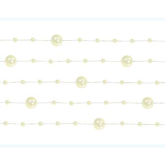 LAST FEW - 5 Ivory 1.3m Pearl Bead Garlands for Crafts & Floristry