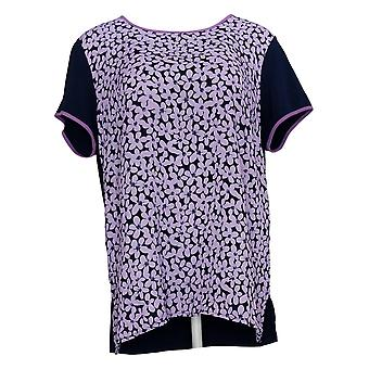 Susan Graver Women's Top Printed Woven Tunic with Knit Back Blue A374101