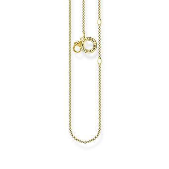 Thomas Sabo Charm Club Gul Guld Charmerende kæde halskæde 45cm X0278-413-39-L45v