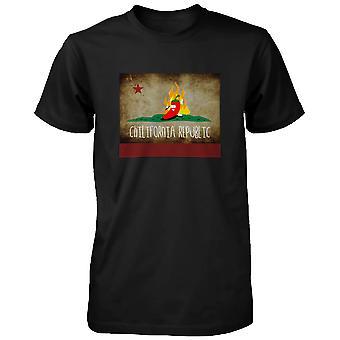 メンズ唐辛子 Chilifornia 共和国、面白いグラフィック黒 t シャツ