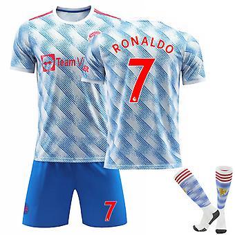 Cristiano Ronaldo #7 CR7 Jersey 2021-2022 Kausi Jalkapallo T-paidat Jersey Set lapsille Nuoret Tervetuloa Ronaldo takaisin Manchester Unitediin