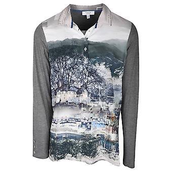 Tinta Style Grey Long Sleeve Shirt With Snow Scene Print Design