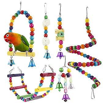 Lintulelut 6kpl papukaija lelut värikäs swing swing kellot köysi pieni keinu rengas budgie lintujen pureskelusetti|lintu leluja