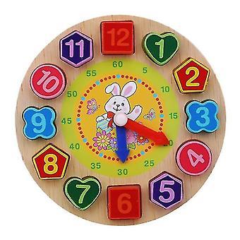 Jigsaw puzzles montessori cartoon animal educational wooden beaded geometry clock puzzles for children 5+ rabbit