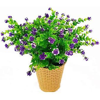 4 pezzi di fiori artificiali eucalipto Bouquet Piante Verde, Uv Resistente Falso Eucalipto Fiori (giallo)