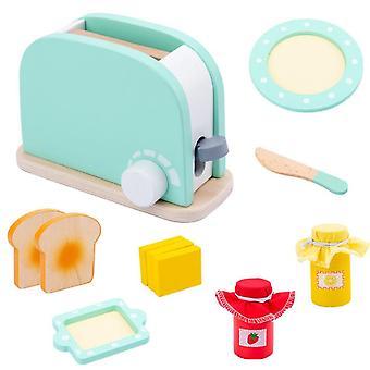 Simulation Wooden Machine Kitchen Pretend Play Toaster Machine Food Mixer