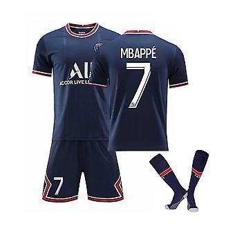 Mbappe 7 Trikot Home 2021-2022 Saison Paris Fußball T-Shirts Trikot Set Für Kinder / Jugendliche
