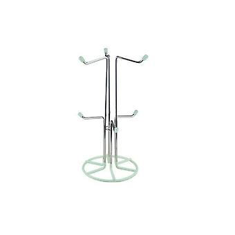 6 Cup Mug Tree Stand Rack Chrome Mint Cream Drainer Holder Kitchen Dining