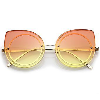 Women's Oversize Rimless Colored Gradient Flat Lens Cat Eye Sunglasses 63mm