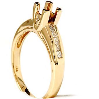 الأميرة ct 1/3 قطع الماس شبه جبل الحلقة 14 ك الذهب