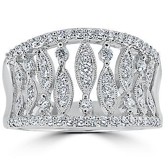 3/4CT diamant Vintage Multi ligne Knuckle main droite Bague 18K or blanc Sz 6.5
