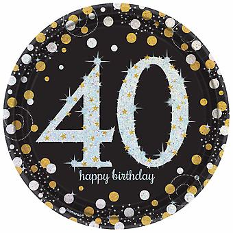 Amscan Sparkling Gold Celebration 40th Birthday Party Plates (Pack of 8)
