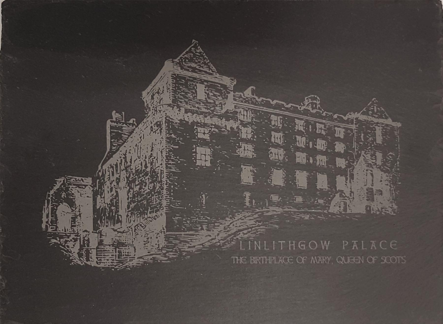 Graham Wishart Laser Etchings Oblong Slate Large with Stand Linlithgow Palace North View