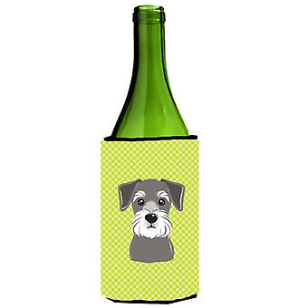 Checkerboard Lime Green Schnauzer Wine Bottle Beverage Insulator Hugger