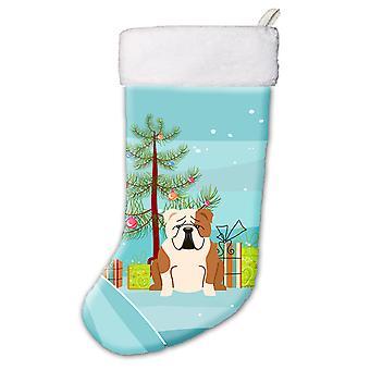 Merry Christmas Tree English Bulldog Fawn White Christmas Stocking