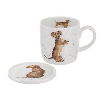 Koninklijke Worcester Wrendale Hello worst Dog mok en Onderzetter Set