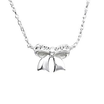 Bow - 925 Sterling Silver Jewelled Necklaces - W19132X