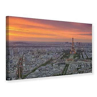 Canvas afdrukken Parijs Skyline bij zonsondergang