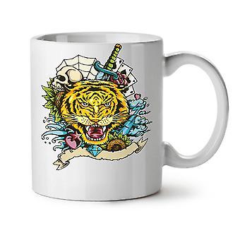 Tygrys twarz Nowa Biała herbata kawa ceramiczny kubek 11 oz | Wellcoda