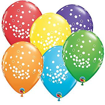 Qualatex 11 Inch Assorted Tropical Birthday Confetti Dots Latex Balloons (Pack Of 6)